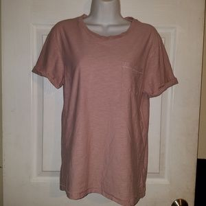 DIVIDED Womens Short Sleeve Pale Pink Pullover Top
